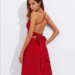 Dresses & Skirts - Crisscross Low Back Tie Flare Dress